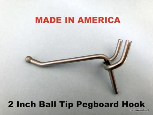 "(100 PACK) 2 Inch All Metal Peg Hooks 1/8 to 1/4"" Pegboard, Slatwall, Garage kit"