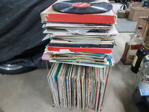 Large lot of 33rpm records and vintage holder