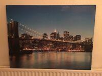 New York - Brooklyn Bridge at Night Skyline Canvas Picture