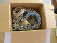 ethernet cables, phone cables,  connector etc
