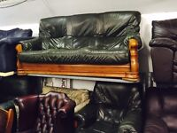 Green leather 3 and 1 sofa set