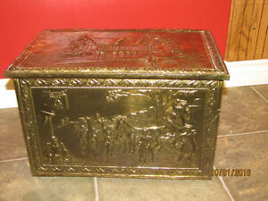 Vintage English Hammered Brass Fireplace Coal Box