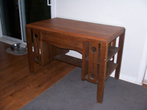 Antique Solid Oak Library Desk 43 by 25 and 30 Tall