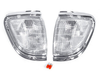 Corner Lights Lens - DEPO Chrome with Clear Lens Front Corner Lights FIT 95 96 97 Toyota Tacoma 4WD