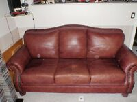 Leather Nail Head Couch and Love seat for sale