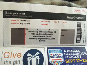 2 tickets to World Cup of Hockey Game 12 Peterborough Peterborough Area image 2