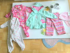 Baby Girl (3-6 m.) Booties NEW, Suit Plush Jumper (Free Hat)