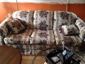 Sofa and matching love seat. Coffee & two end tables