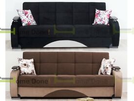 **14-DAY MONEY BACK GUARANTEE!* Zoltan Luxury Fabric Sofabed with Luxury Sprung Seats and Storage
