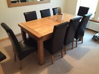 Extendable 6ft dining table plus 8 chairs
