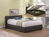 Attractive Design !! Double Ottoman Storage Frame Black Brown Leather Bed and Mattress