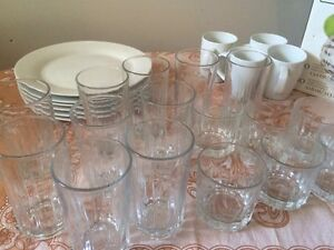 Cups glasses plates for sale
