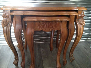 SOLID WOOD FRENCH PROVINCIAL NESTING TABLES