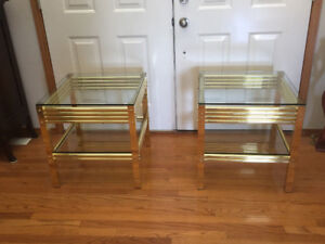 THE    TWO VINTAGE GLASS TOP BRASS END TABLES FOR SALE