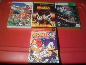 4 Video Games Gamecube PS2 Wii Xbox 360 Sonic Star Wars Enjoy