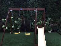 Outdoor kids swings and slide