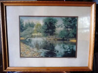 """Hand Colored Photo After Wallace Nutting """"Reflections"""" 1920's"""