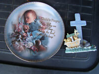 Decorative Prayer Plate and Noahs Ark Ornament