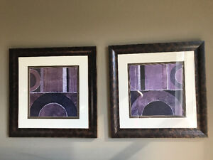 Set of purple pictures
