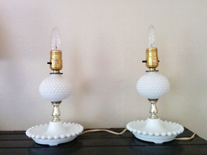 Hobnail Milk Glass Table Bedside Vanity Lamps Midcentury