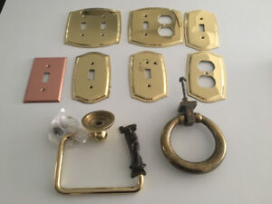 Lot of misc brass switch plates, door knocks