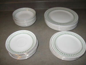 27 plates/dishes-all same pattern + glasses-$5 lot