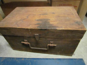 Vintage wooden toolbox and contents