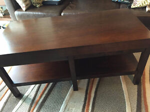 Espresso coffee table & matching end table(s) with storage shelf