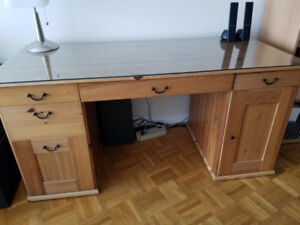 Wood Desk (glass top layer)