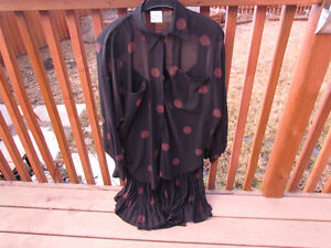 Two piece - black w. brown dots - sheer material-size 8/10 Strathcona County Edmonton Area image 3