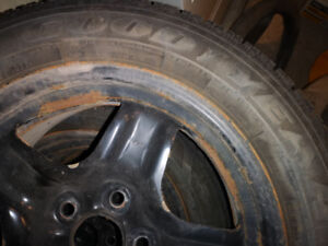Goodyear 225/55/R17 inch winter tires on steel wheels