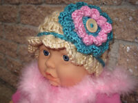 BABY HATS 0-6 Months.  Hand-crochet, for gifts, photos, new baby