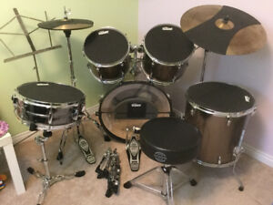 Tama drum kit with SoundOff, throne, and extra stand