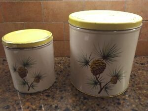 VINTAGE KITCHEN items - cannisters, molds