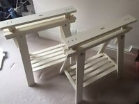 Pair Of White Wooden A-Frame Table Supports. For Glass/Wooden Table Top Surface.