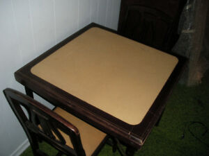 Vintage Folding Wooden Table with 2 Chairs