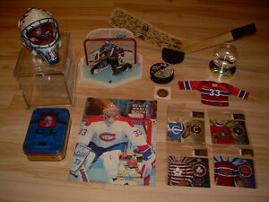 Lot Patrick Roy Stick-Figure-Helmet-Puck-Coins-Jersey-Becket-Tin