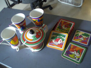 Tea Pot --Clarice Cliff inspired teapot, cups, coasters Stratford Kitchener Area image 2