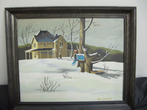 "signed oil on board Landscape Painting - framed 23"" x 19"""