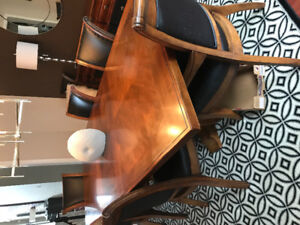 Solid Wood Dining Table + 8 Matching Chairs ( 8.5 feet)