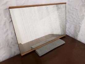 Vintage mid century teak trimmed rectangular mirror, ready to hang