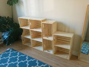 Ten wooden crates - use for storage, bookcase, shelving, etc