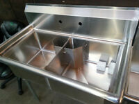 New !Commercial Two compartment stainless steel Double Sink !