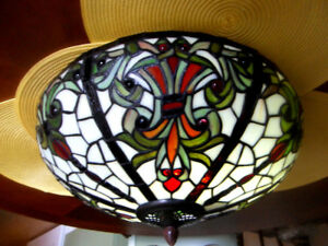 Antique Stain Glass Tiffany Style Ceiling Light!