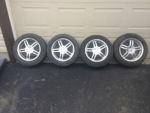 SACCHI 212 ALLOY WHEELS 4 BOLT 15 INCH, 185/65/15 TIRES. CIVIC