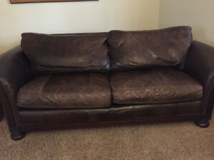 Distressed brown leather Couch, large chair and ottoman