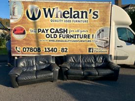 3&2 seater sofa in black leather Hyde £250
