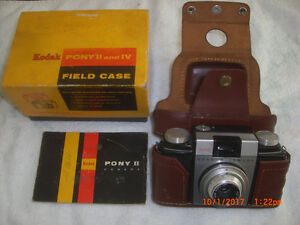Kodak Pony II Camera 44mm Lens f/3.9 with Leather Case,bx,manual