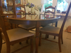 Dining table and 4 high back chairs