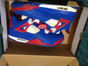 CUSTOM AIR JORDAN 4 CAPTAIN AMERICA EDITION